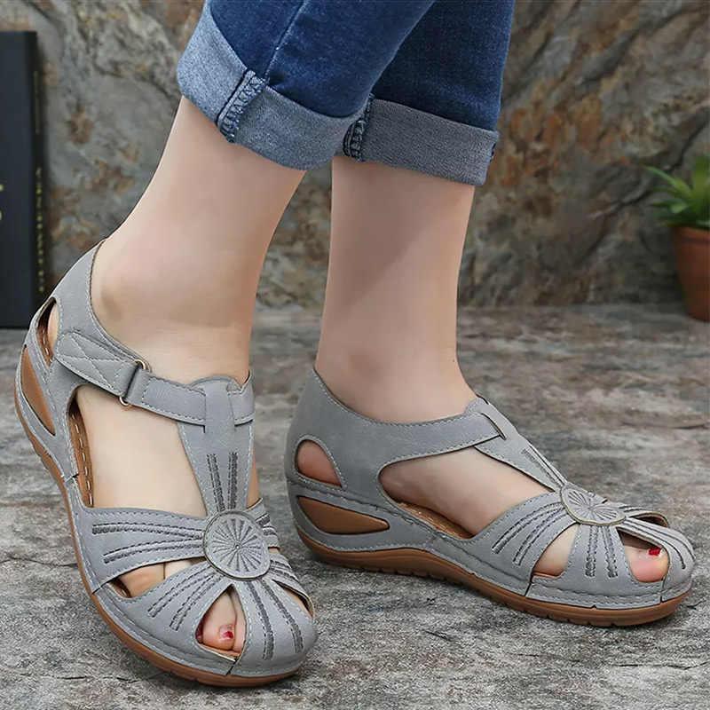 Giày Xăng Đan Nữ 2020 Mùa Hè Mới Giày Người Phụ Nữ Đế Mềm Giày Đế Xuồng Nữ Nền Tảng Giày Sandal Gót Võ Sĩ Giác Đấu Sandalias Mujer