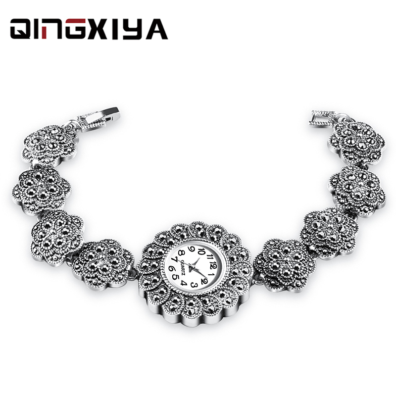 Women Watches Top Luxury Brand Lady Fashion Casual Simple Antique Silver Bracelet Wristwatch Gift For Girls Relogio Feminino