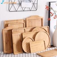 Японский стиль Бамбуковый лоток поднос для чайных чашек Деревянный прямоугольник круглая пластина кухонный Органайзер лоток для еды вечер...