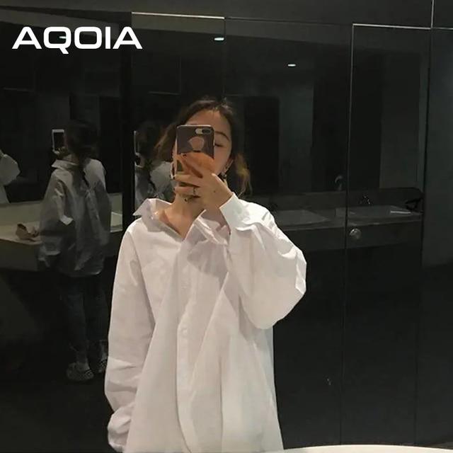 AQOIA Streetwear Long Sleeve Chiffon Plus Size Black White Women Shirt Button Up Loose Ladies Blouses 2020 Female Long Shirts 3