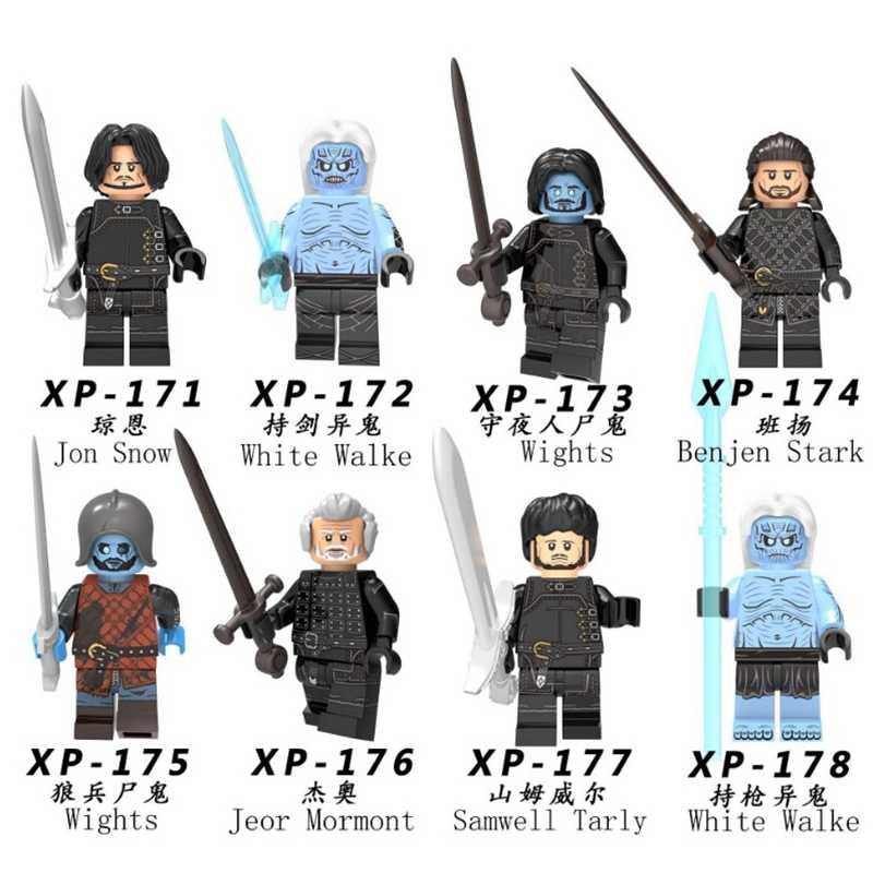 เกมของ Thrones ตัวเลข Jon Snow Stark สีขาว Walke Jaime Arys บาร์ริสเตียน Ice และ Fire Building Blocks อิฐของเล่นสำหรับเด็ก