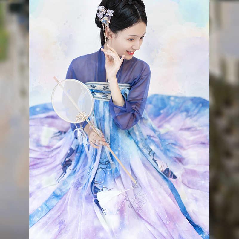 Nowa gradacja kolor sukienka wróżki Hanfu kobiety niebieski Roupa Feminina etap Cosplay Hanfu Top spódnica garnitur tradycyjne ubrania damskie 3262