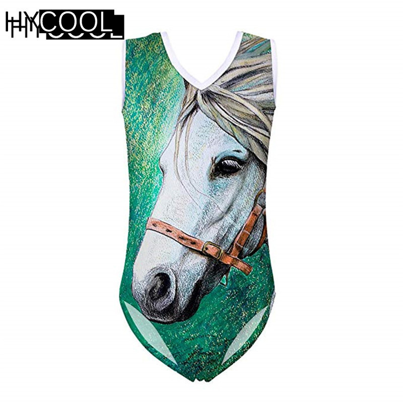 HYCOOL One Piece Swimsuit Girls' Swimsuit Crazy Horse Printing Children's Swimwear Bodysuits Kids Quick Dry Swimmingsuits