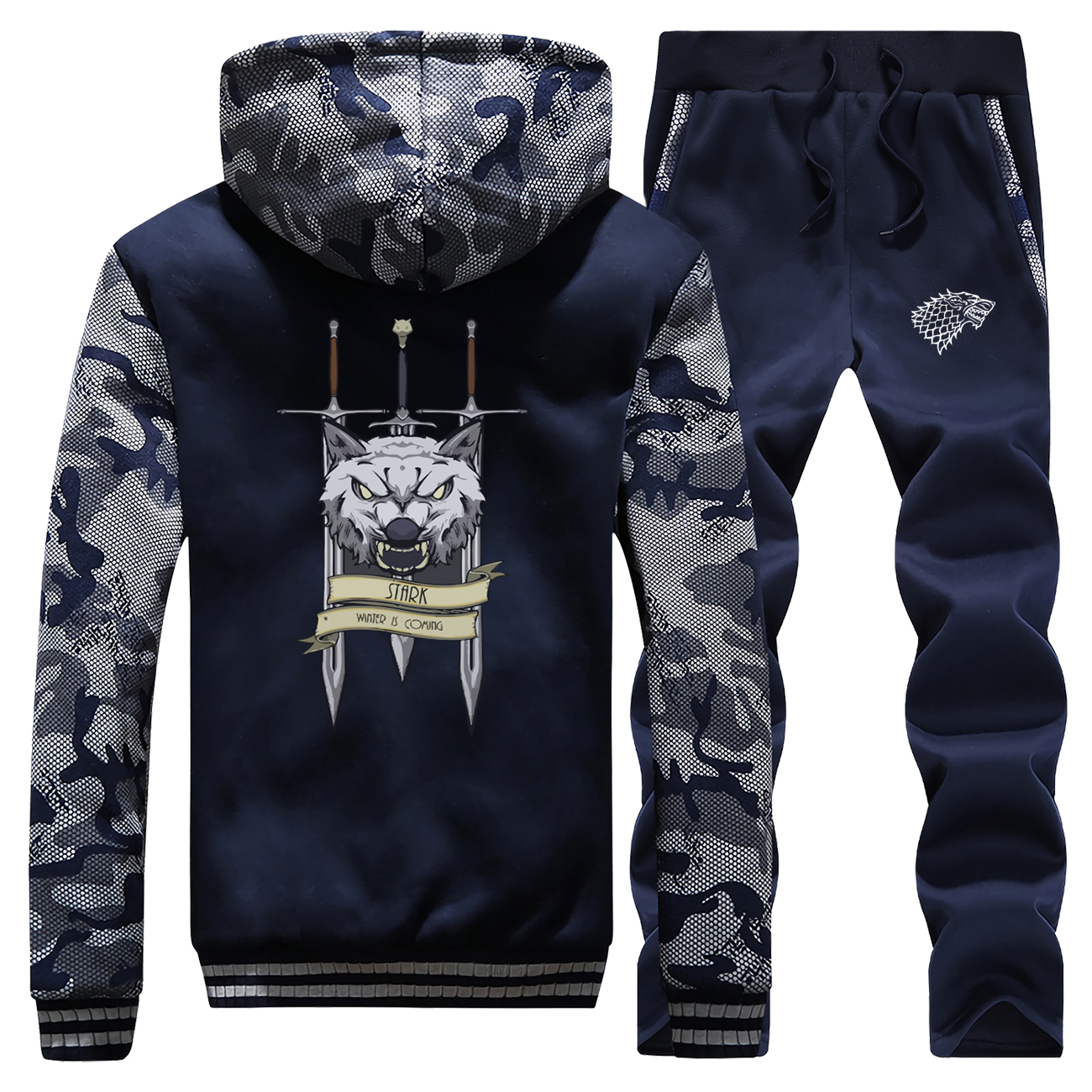 Game Of Thrones Hoodies Pants Set Men Wolf Tracksuit Coat Track Suit Winter Thicken Jacket Camo Sweatshirt Sweatpants 2 PCS Sets