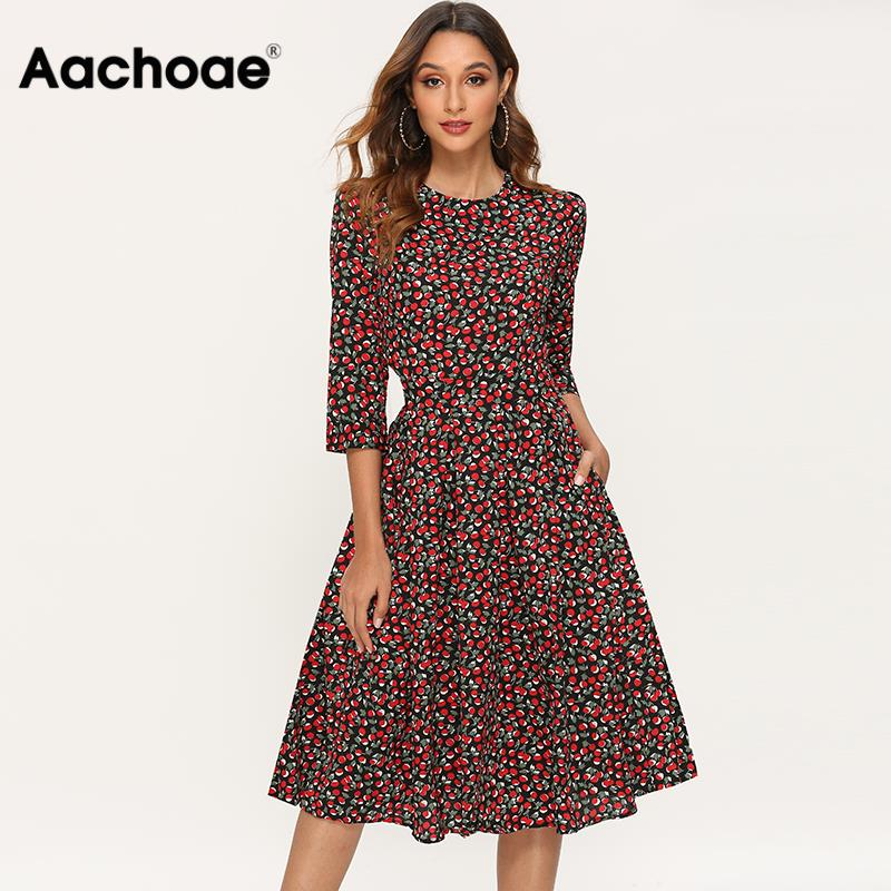 Elegant Dresses Women 2020 Vintage Floral Print A Line Party Dress Autumn Three Quarter Sleeve O-neck Midi Dress Robe Femme