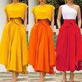 Frauen Hohe Taille Röcke Einfarbig Ausgestelltes Gefaltete Lange Maxi Gypsy Maxi Rock Weibliche Plus Größe Volle Länge Röcke Kostüm s-2XL