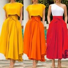 Faldas de cintura alta largo plisado para mujer, falda larga plisada de Color liso, de talla grande, traje con falda S-2XL