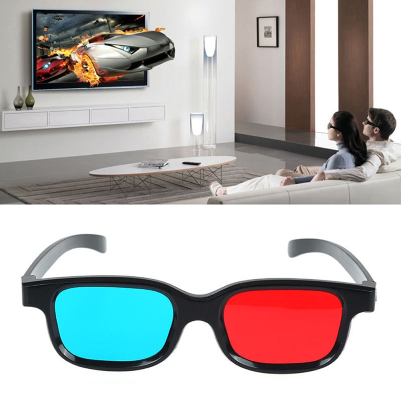 1PCS Black Frame Red Blue 3D Glasses For Dimensional Movie Game Anaglyph AUD R9H6 image
