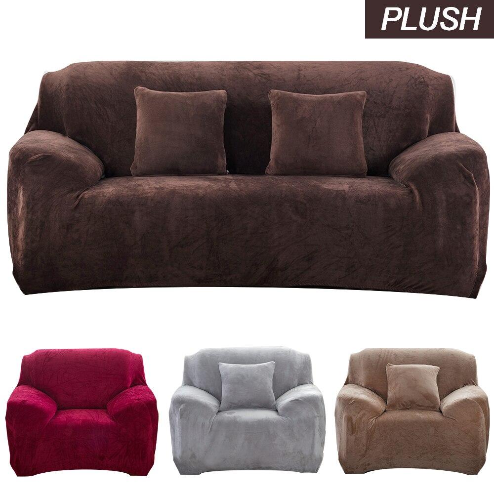 Funda sofá gruesa de felpa para sala de estar esquina elasticadas funda sofá chaise lounge mantas elástica fundas de sección decoración 1/2/3/4 plazas funda de sofa ajustable de dos y tres plazas