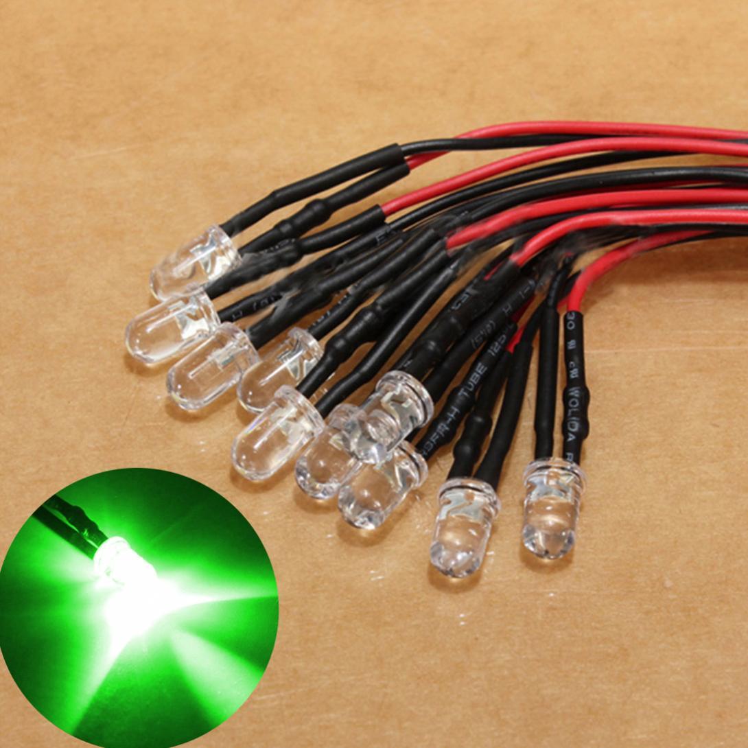 10 pièces 12V lumière LED ampoule 10 x précâblé 5mm lampe à Diode lumineuse 20 cm/7.8in précâblé