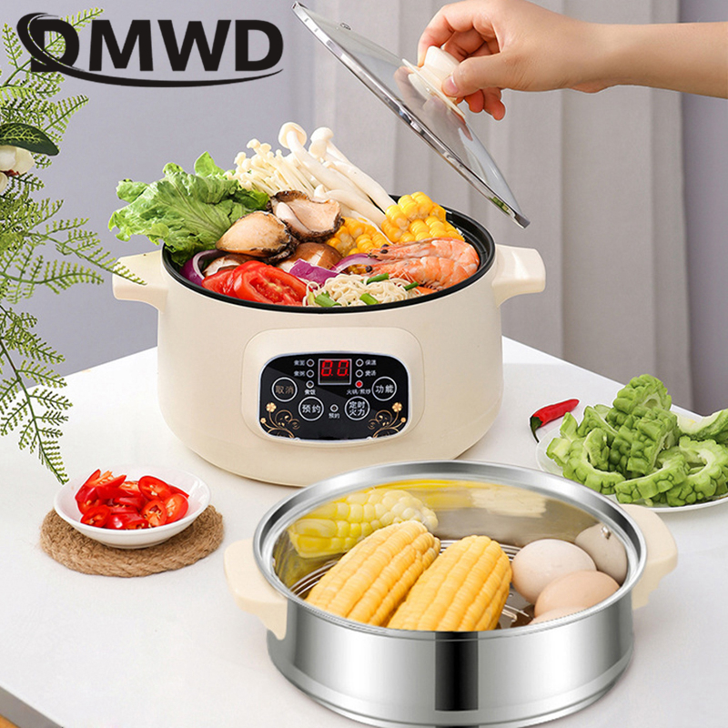 DMWD 110V 220V Non-stick Rice Cooker Multifunctional Hot Pot With Steamer Insulation Fast Heating Electric Multiccoker 2 LayersM