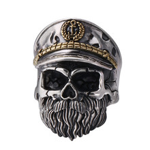 925 Sterling Silver Jewelry Men Women Punk fashion Creativity Skull Opening Ring недорого