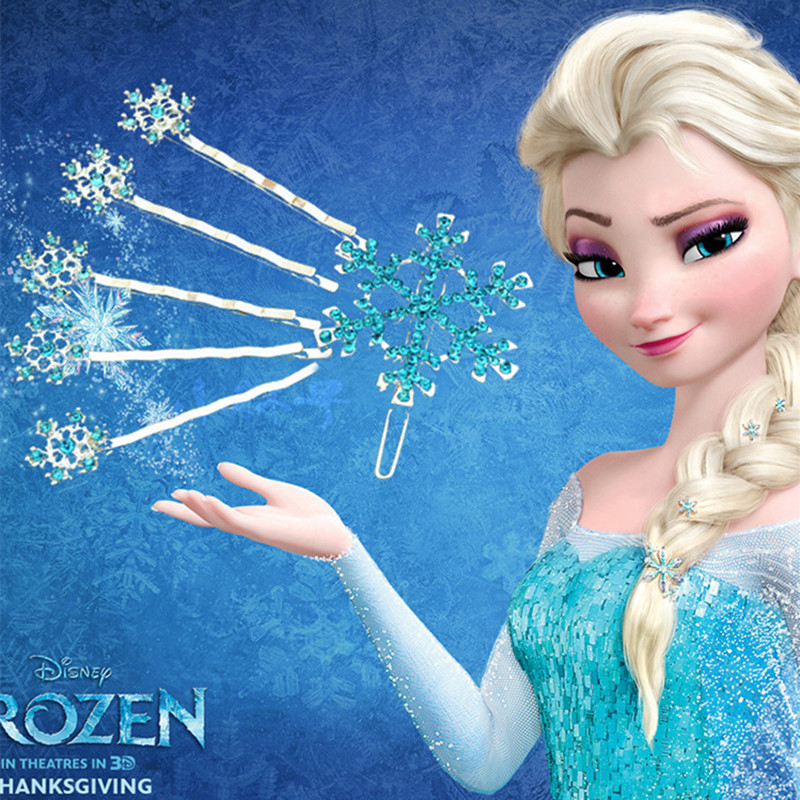Disney 6pcs/lot Frozen Princess Hair Ornaments Children's Cartoon Headwear Snowflake Hairpin One Word Pinch Girls Christmas Gift
