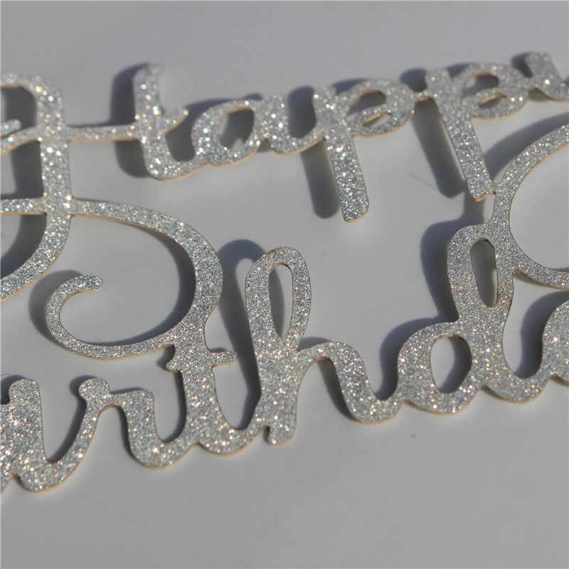 1 قطعة الساطع عيد ميلاد سعيد كعكة توبر ل كعكة الذهب Gillter كعكة العلم للأسرة عيد ميلاد حزب الخبز لوازم الديكور