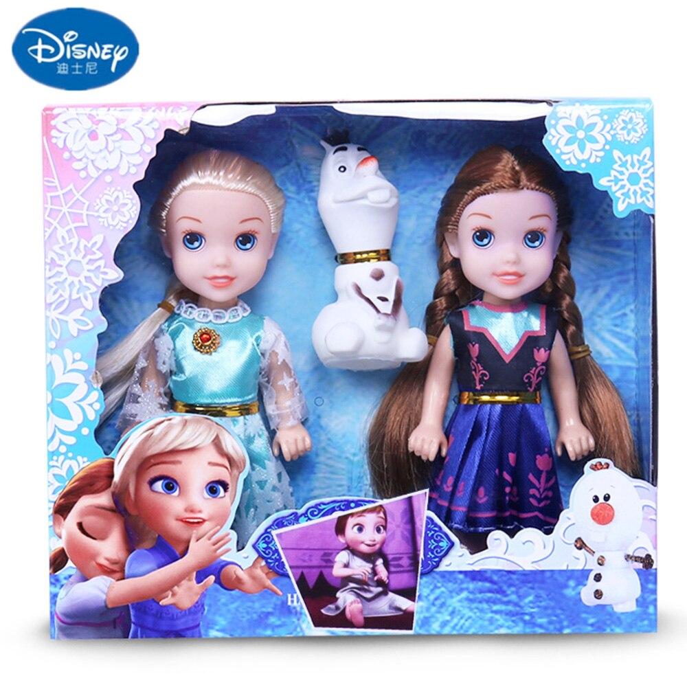 2 juguetes de princesa de juguete de Elsa muñecas Anna y accesorios Olfa regalos de Navidad de buena calidad Disney Frozen peine princesa Anna Elsa figura de acción antiestático cepillos para el cuidado del cabello niñas vestido de cumpleaños regalo de los niños
