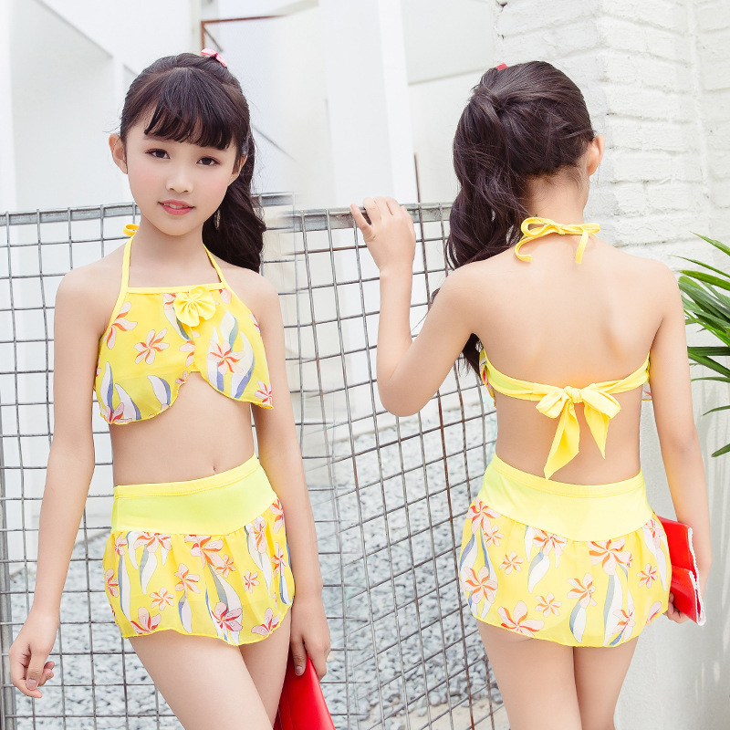 New Products Big Boy Boxers Bathing Suit Girls Princess Dress-Printed Split Type Sun-resistant Swimwear Nt106806