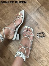 Fashion Women Sandals Cross Tied Gladiator Casual Sandal Low Thick Heel Lace Up Shoes Back Strap Summer Shoe Big Size35-41