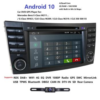 Two Din Car Multimedia Player Android 10 DVD Player For Mercedes/Benz/E-Class/W211/E300/CLK/W209/CLS/W219 GPS Radio 16GB Audio