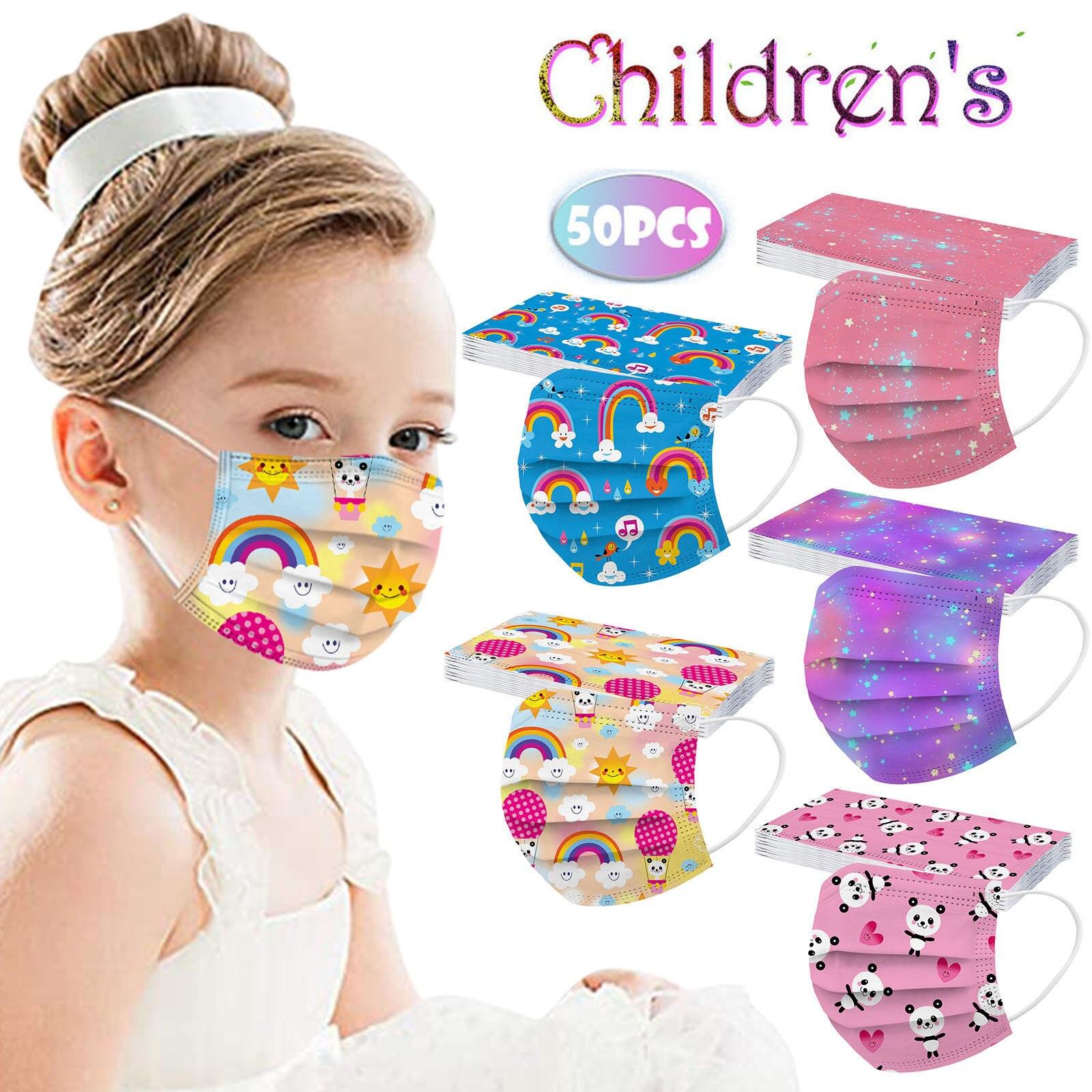 50 шт. Маска детская маска одноразовая маска для лица промышленный 3Ply петли уха с рождественским принтом хлопковая одноразовая маска для лиц...