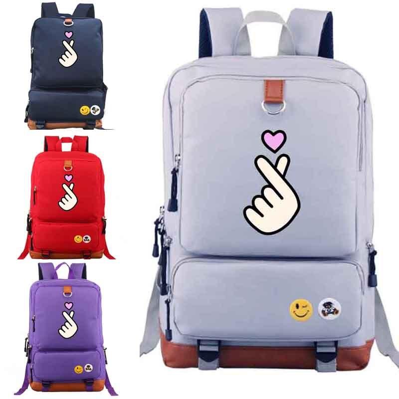 Love Hand Gesture Backpack Fun Trendy School Bag Creative Gift Black Blue Pink Purple