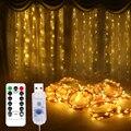 СВЕТОДИОДНАЯ Гирлянда-занавеска с USB, сказочные огни, гирлянда на свадьбу, вечеринку, Рождество, окно, уличное украшение, дистанционное Ново...