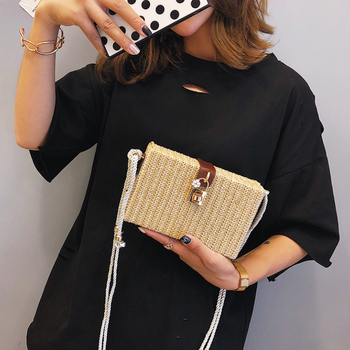 Handmade straw shoulder bag summer women's woven rattan bag vintage beach cross body bag female lock handbag with flowers 1