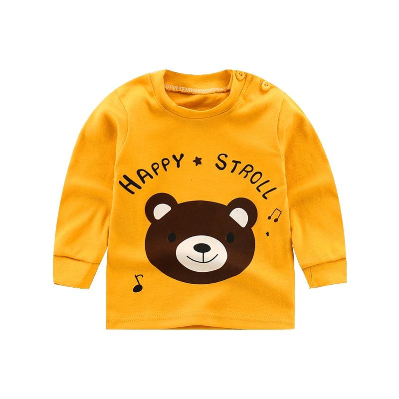 От 6 месяцев до 5 лет унисекс; сезон осень-зима; хлопковая футболка с длинными рукавами и героями мультфильмов; футболки для маленьких мальчиков и девочек; детская повседневная одежда; одежда с круглым вырезом - Цвет: 02