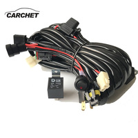CARCHET 12/24V 8.8m Car Cable Wiring Harness Kit LED Strip Light Switch Harness Set Control 9005/H4 High Beam Driving Light
