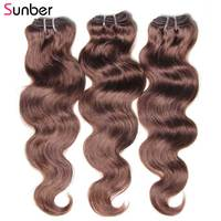 Sunber Hair Brown Human Hair 3 Bundles Weave 8'' 26'' inch Hair Extension 2#/4# Remy Hair Peruvian Body Wave Bundles Hair
