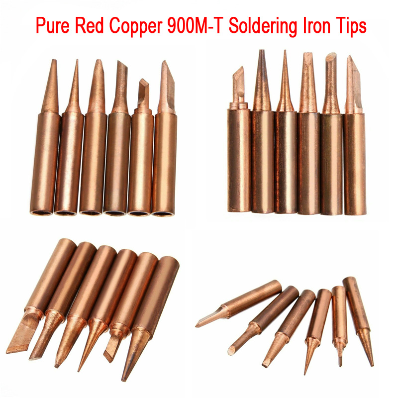 Pure Red Copper Diamagnetic 900M-T 936 Solder Iron Tips Lead-Free Lower Temperature Soldering Welding Tool For Soldering Station