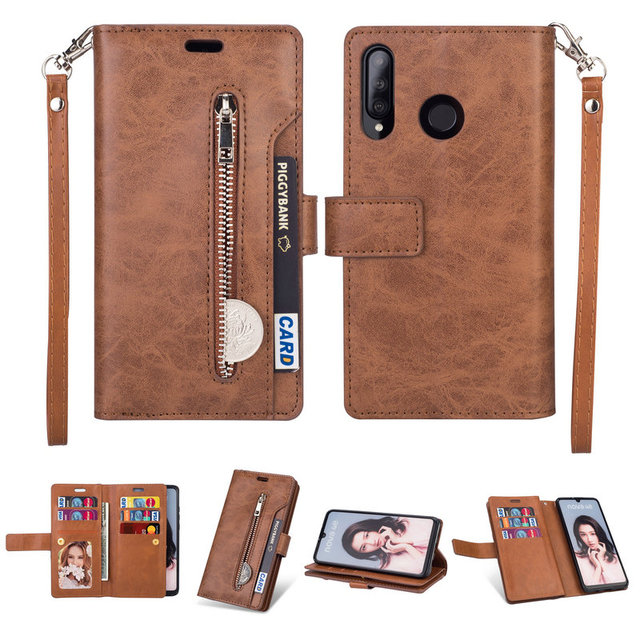 Luxury Zipper Flip Case Solid Leather for Funda Honor 20s Case Huawei Honor 20S Phone Case Card Slot Honor 20 S Wallet Cover