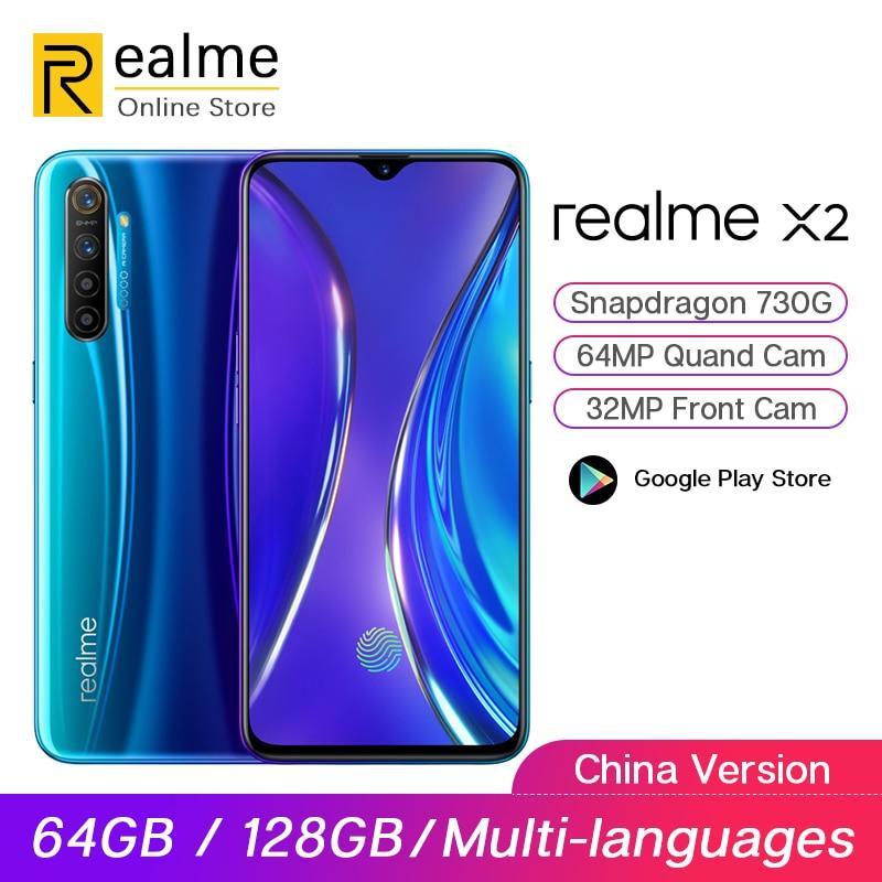 Original Realme X2 X 2 6G/8G 64G/128G Snapdragon 730G Smartphone Octa Core 64MP Quad Cam 6.4'' Super AMOLED NFC 4000mAh 30W VOOC