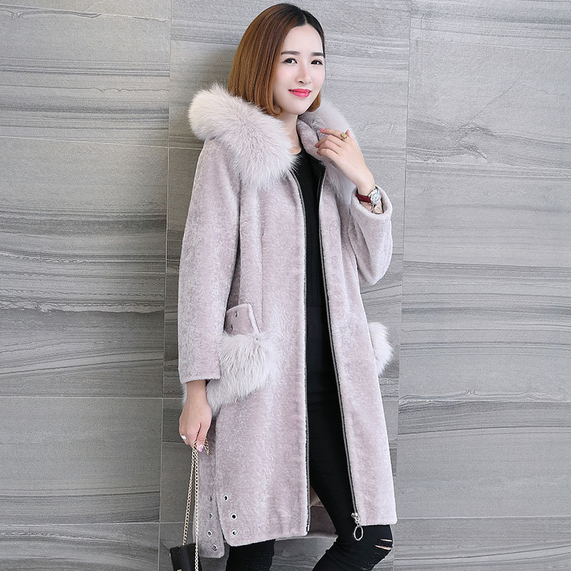 Real Winter Fur Coat Women Long Sheep Shearling Overcoat With Genuine Fox Fur Collar Hooded Natural Wool Jackets 17075