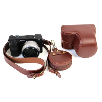 Leather Camera Bag Genuine Leather Camera Strap Shoulder Cover Case For Sony A6300 16-50mm Camera Protective Body Cover Case Bag