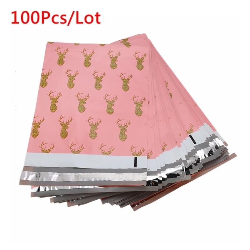 100Pcs/Lots Christmas Deer Pattern Envelope Bags 260x330mm Self-seal Adhesive Storage Bags Poly Envelope Shipping Mailing Bags