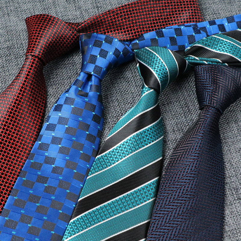YISHLINE Ties 2020 Classic Dots Striped 8CM Mens Tie Man Tie RED Jacquard Neckwear Bridegroom Wedding Party Tie Men Accessories