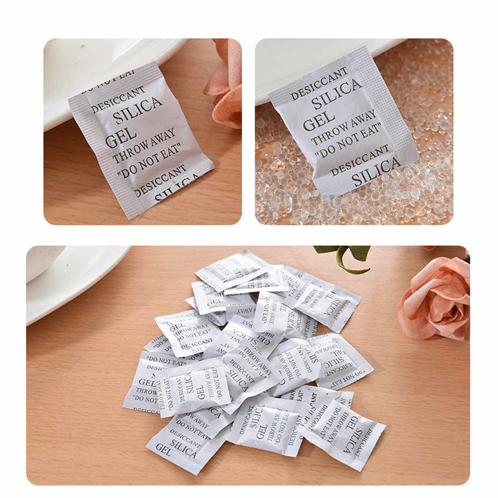 100 Packs New 1g Non-Toxic Silica Gel Desiccant Damp Dehumidifier Room Kitchen Clothes Food Storage Moisture Absorber Bags