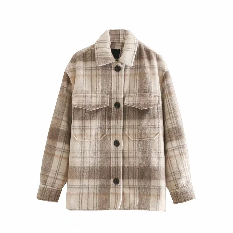 Vintage Women Plaid Jackets 2019 Winter Fashion Ladies Loose Woolen Coats Female Oversize Coat Cute Girls Thick Outfits Chic