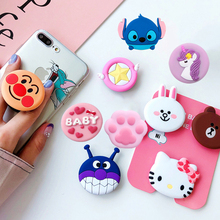 Cute 3D Cartoon Round Mobile Phone Holder Anti-Drop Airbag Gasbag Stand Bracket Mount For iPhone X XS XR 8 7 6s Samsung socket
