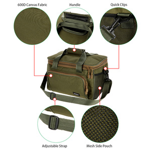Image 5 - Lixada Men Fishing Bag Canvas Multifunctional Outdoor Waist Shoulder Bag Fishing Reel Lures Storage Bag Fishing Gear 37*25*25cm