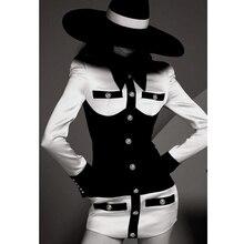 Alta qualidade 2019 barroco designer vestido de manga longa das mulheres preto branco contraste cor retalhos leão botões vestido