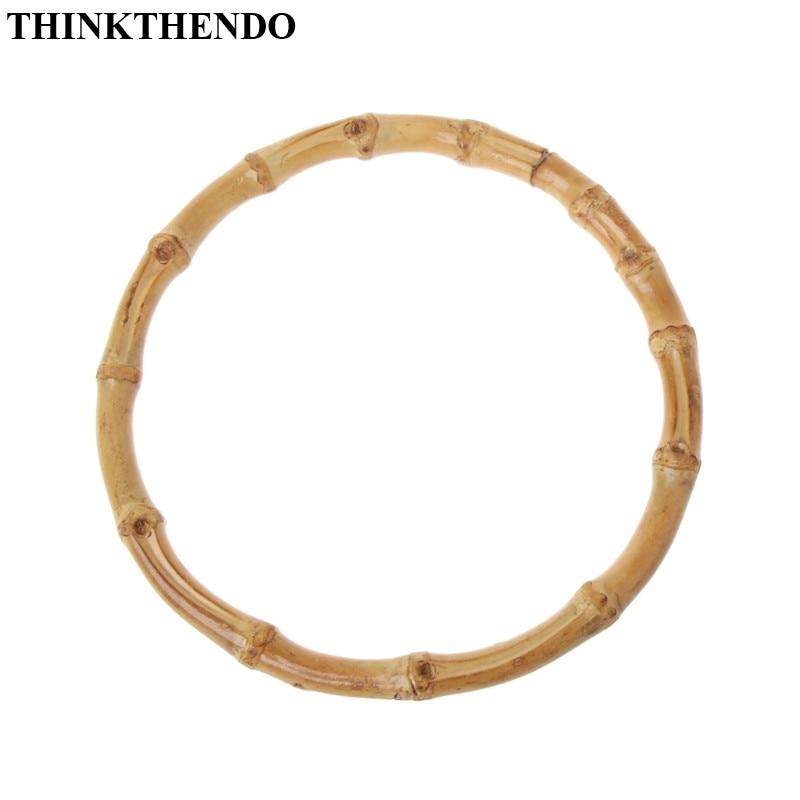 THINKTHENDO Round Bamboo Bag Handle For Handcrafted Handbag DIY Bags Accessories