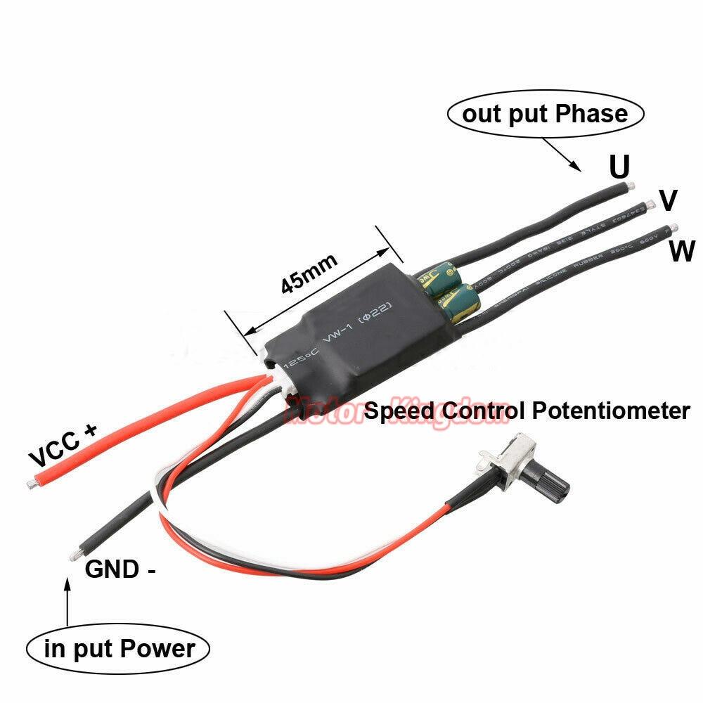 7V 12V 24V 3 phases potentiomètre vitesse sans balais pilote sans balais ESC haute vitesse entraînement sans brosse pompe à air pompe à eau ventilateur
