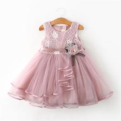 Em vestido com laço moda verão, vestido com laço para pequena princesa sem manga maciço com tule vestido para meninas de 2 3 4 5 6 anos roupas de festa pageant vestidos