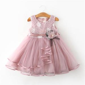 Lace Little Princess Dresses Summer Solid Sleeveless Tulle Tutu Dresses For Girls 2 3 4 5 6 Years Clothes Party Pageant Vestidos(China)