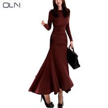 Autumn dress OLN Korean vestidos new arrival wholesale Temperament Slim Dress Fashion Knit Bag Hips Bottoming