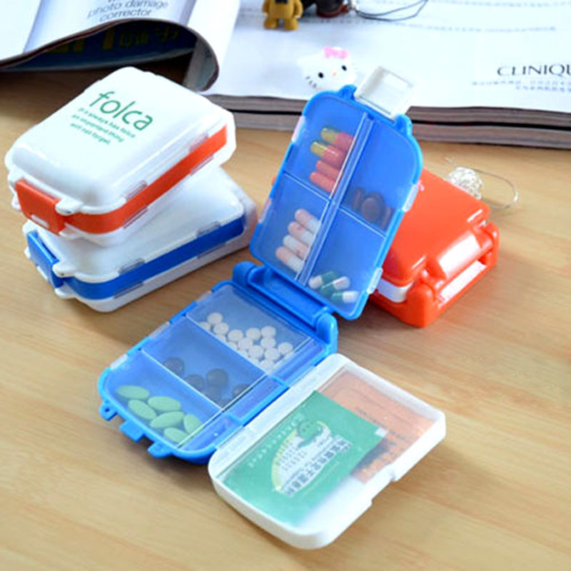 Folding Weekly Sort Folding Vitamin Medicine Pill Box Vitamin Medicine Drug Pill Box Makeup Storage Case Container Free Shipping