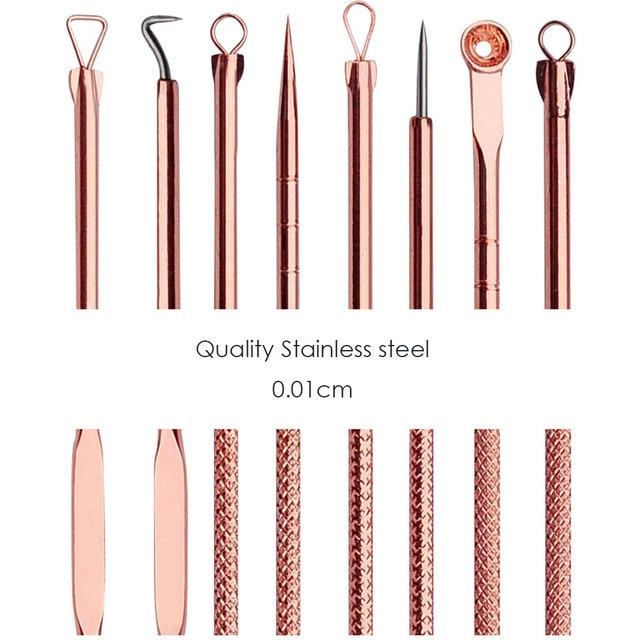 4PCS Blackhead Extractor de cravo Rose Gold Black Dots Cleaner Acne Blemish Remover Needles Set Black Spots Pore Cleanser Tool 5