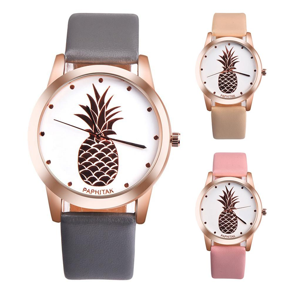 Clearance Sale Women's Men's Casual Watch Pineapple Faux Leather Analog Quartz Fashion Couple Wrist Watch Zegarki Damskie