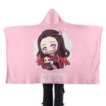 Trendy Popularl Boys Girls Flannel Soft Blanket Hoodie Kawaii Demon Slayer Japan Anime Unisex Kpop Lazy Blanket Flannel Cape